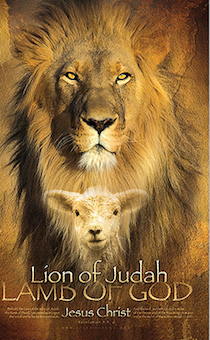 "Блокнот А6 (10,5*15 см) 90 листов, на пружине ""Lion of Judah. Lamb of God. Jesus Crist"" Лев и ягненок"